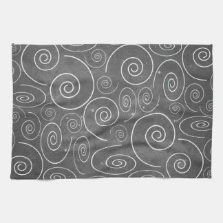 Gothic Black and White Spirals Kitchen Towel