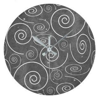 Gothic Black and White Swirls Spirals Clock