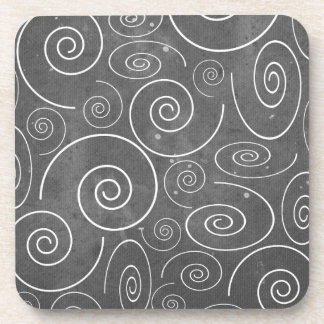 Gothic Black and White Swirls Spirals Coasters