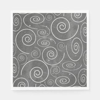 Gothic Black and White Swirls Spirals napkins Disposable Napkins