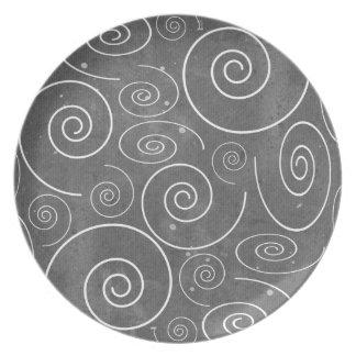 Gothic Black and White Swirls Spirals Plate