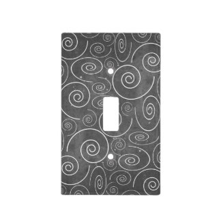 Gothic Black and White Swirls Spirals Switch Cover