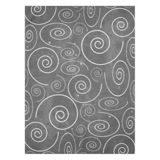Gothic Black and White Swirls Spirals tablecloth