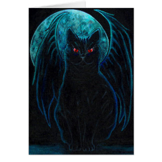 Gothic Black Cat Card