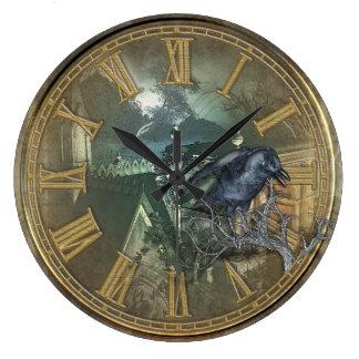 Gothic Black Crow Large Clock
