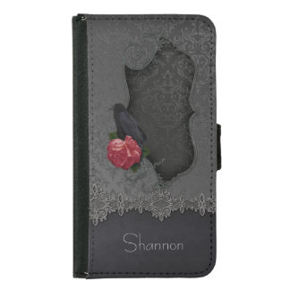 Gothic Black Gray Damask Lace Black Raven Red Rose Samsung Galaxy S5 Wallet Case