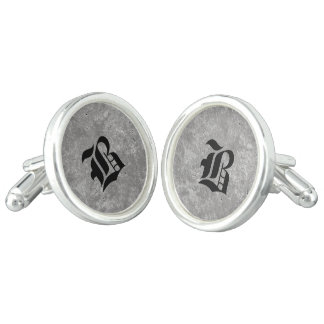 Gothic Black on Gray Cuff Links