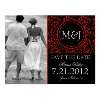 Gothic Black & Red Flourish Save the Date Postcard