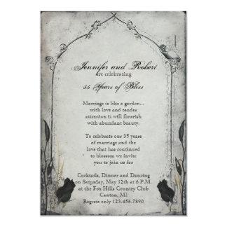 Gothic Black Rose Trellis Wedding Anniversary Card