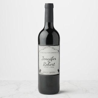 Gothic Black Rose Trellis Wine Label
