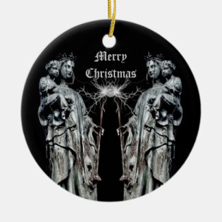 Gothic blessed mother and child Christmas Round Ceramic Ornament