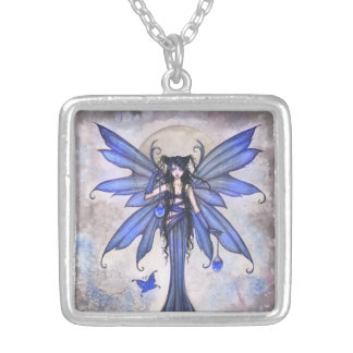 Gothic Blue Fairy Fantasy Art Necklace