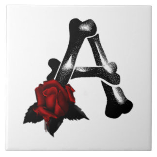 Gothic Bone and Roses Monogram A Tile