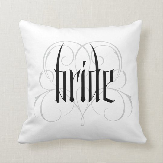 Gothic Bride Lettering Goth Vampire Lacy Heart Throw Pillow