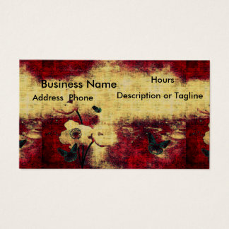 Gothic Business Card Aged Look Blood Red Butterfly