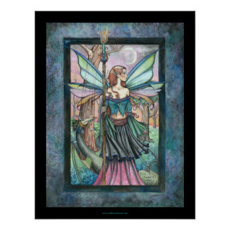 Gothic Candle Fairy and Dragon by Molly Harrison Poster