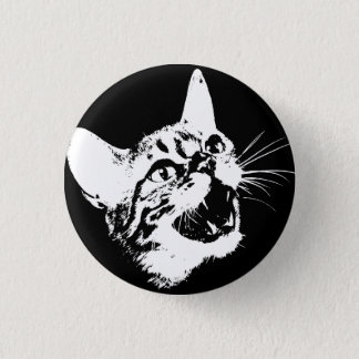 Gothic Cat Feral Evil Scary Growl Fangs 1 Inch Round Button