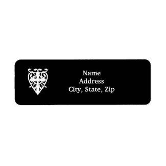 Gothic celtic cross in heart white bridal return address label