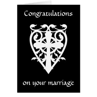 Gothic celtic cross in heart white congratulations card