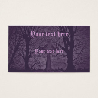 Gothic celtic cross tombstone purple business card