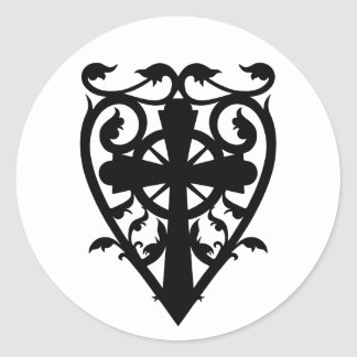 Gothic cemetery celtic cross in heart classic round sticker