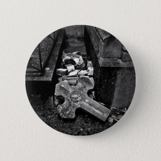 Gothic cemetery cross 2 inch round button