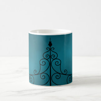 Gothic cemetery fence in black and teal coffee mug