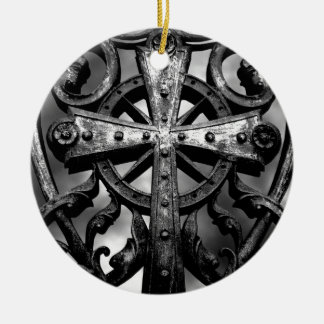 Gothic cemetery wrought iron celtic cross in heart round ceramic ornament