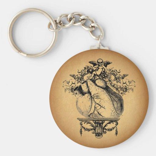 Gothic Cherubs and Heart Keychains
