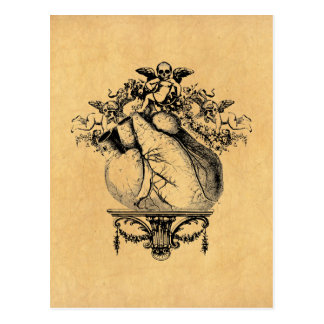 Gothic Cherubs and Heart Postcard