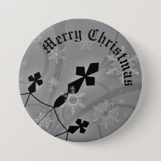 Gothic Chrisrmas snowflakes and crosses 3 Inch Round Button
