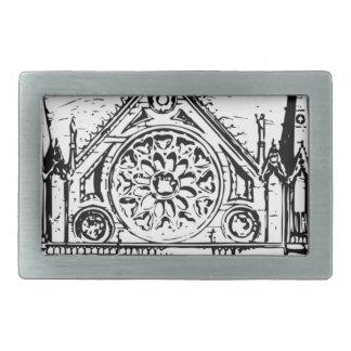Gothic church painting rectangular belt buckles