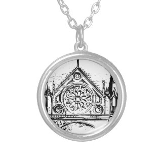Gothic church painting silver plated necklace