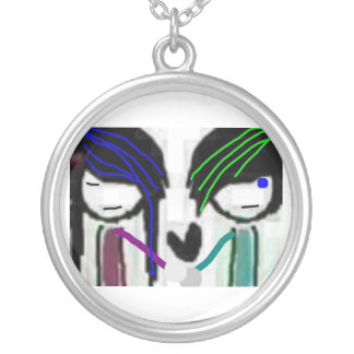 gothic couple silver plated necklace