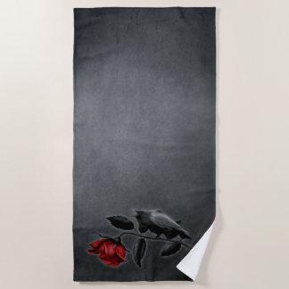 Gothic Crow on Rose Beach Towel