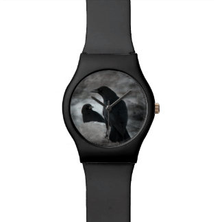 Gothic Crows Black And White Watch