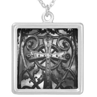 Gothic crypt door silver plated necklace