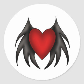 Gothic cute red winged heart stickers