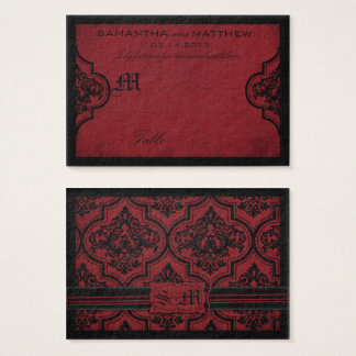 Gothic Damask Red Grunge Wedding Place Card