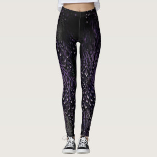 Gothic Dark Purple and black Feather leggings