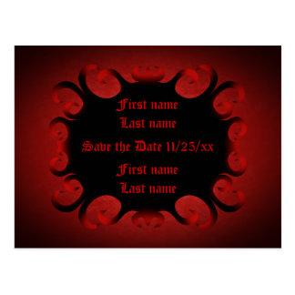 Gothic dark red and black swirls Save the Date Postcard