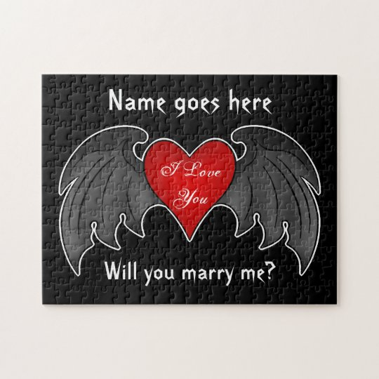 Gothic dark red winged heart marriage proposal jigsaw puzzle