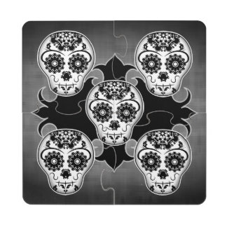 Gothic Day of the Dead sugar skull Drink Coaster Puzzle