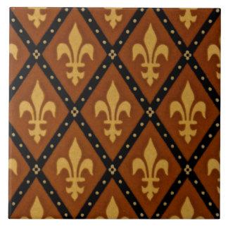 Gothic Design Fleur de Lis Motif Terra Cotta Tile