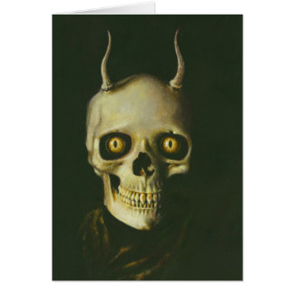 Gothic Devil Skull Greetings Card