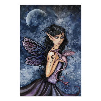 Gothic Dragon Fairy Art Poster by Molly Harrison