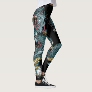 Gothic Dragon Tattoo on Black Leggings