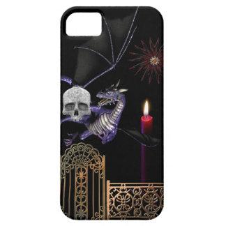 Gothic Dragon w Human Skull Gold Gate purple black iPhone 5 Case