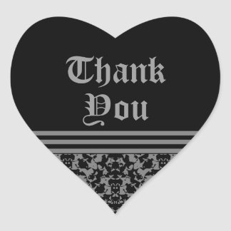 Gothic elegant formal Thank you seals Heart Sticker