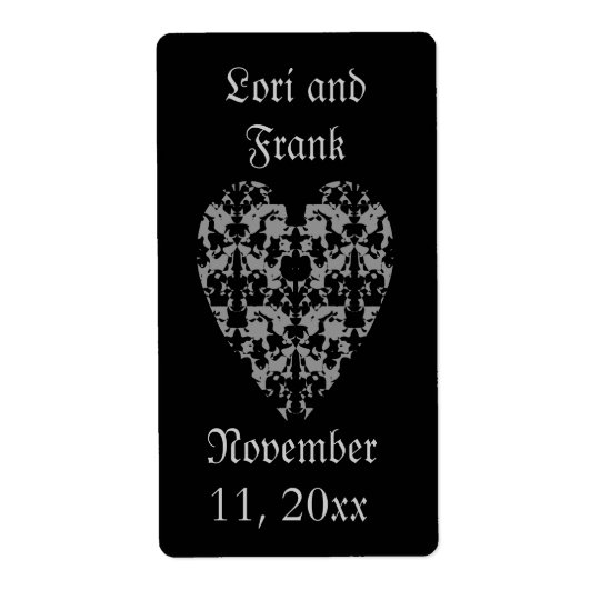 Gothic elegant heart labels to personalize